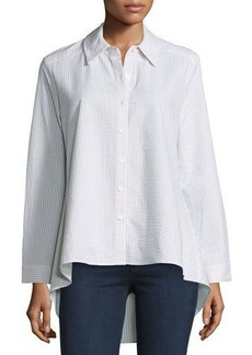 Neiman Marcus Striped Seersucker High-Low Button-Front Top
