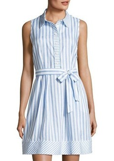 Neiman Marcus Striped Sleeveless Linen Dress