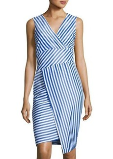 Neiman Marcus Striped Sleeveless Sheath Dress