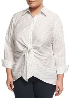 Neiman Marcus Striped Tie-Front Blouse