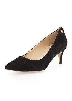 Neiman Marcus Stroll Low-Heel Point-Toe Pump