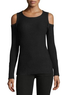 Neiman Marcus Studded Cold-Shoulder Sweater