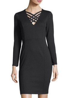 Neiman Marcus Studded Crisscross-Neck Sheath Dress