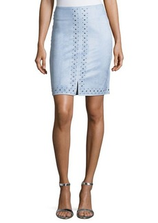 Neiman Marcus studded faux suede skirt