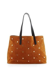 Neiman Marcus Studded Faux-Suede Tote Bag