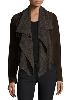 Neiman Marcus Suede & Ribbed-Knit Waterfall Jacket