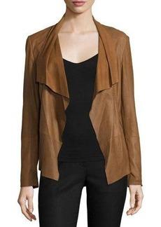 Neiman Marcus Pick-Stitch Draped-Front Suede Jacket