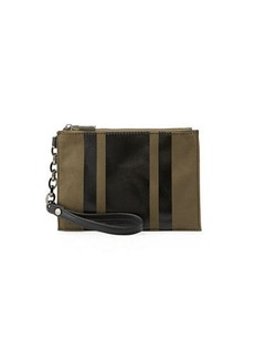 Neiman Marcus Suede Wristlet with Leather Stripes