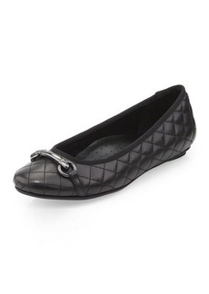 Neiman Marcus Suzy Quilted Buckled Flat