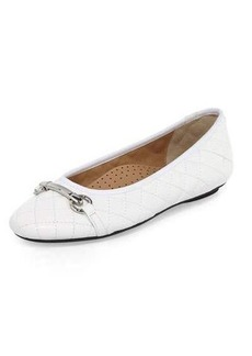 Neiman Marcus Suzy Quilted Leather Bit-Strap Flat