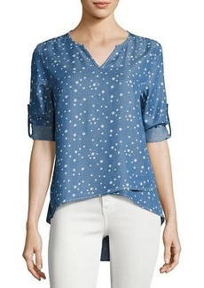 Neiman Marcus Tab-Sleeve Split-Neck Chambray Top
