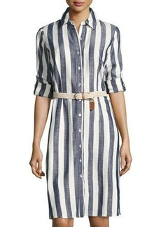 Neiman Marcus Tanner Striped Shirtdress