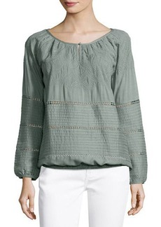 Neiman Marcus Textured Woven Peasant Blouse