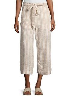 Neiman Marcus Tie-Belt Wide-Leg Linen-Blend Crop Pants