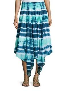 Neiman Marcus Tie-Dye Asymmetric-Hem Midi Skirt