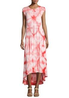Neiman Marcus Tie-Dye Cap-Sleeve Maxi Dress