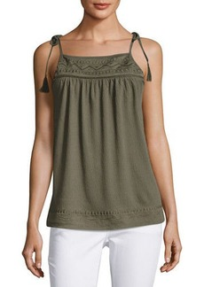 Neiman Marcus Tie-Shoulder Embroidered Swing Tank