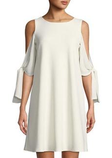 Neiman Marcus Tie-Sleeve A-line Dress
