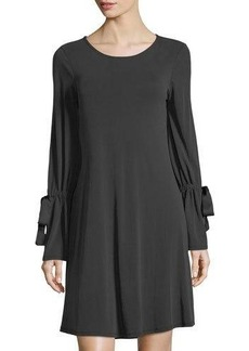 Neiman Marcus Tie-Sleeve Shift Dress