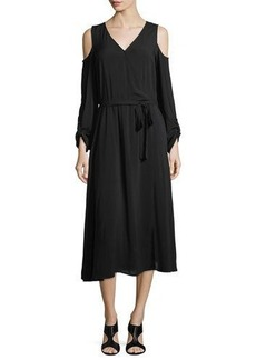 Neiman Marcus Tie-Waist Cold-Shoulder Midi Dress