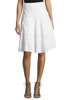 Neiman Marcus Tiered Linen-Blend Skirt