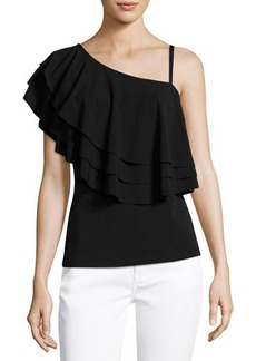 Neiman Marcus Tiered-Ruffle One-Shoulder Top