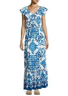 Neiman Marcus Tile-Print Ruffled Maxi Dress