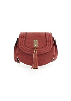 Neiman Marcus Trapunto Faux-Leather Saddle Bag