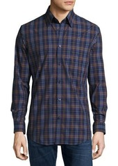 Neiman Marcus Trim-Fit Plaid Sport Shirt