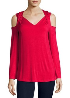 Neiman Marcus Twisted Cold-Shoulder Long-Sleeve Top