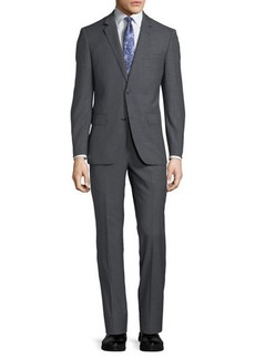 Neiman Marcus Two-Button Windowpane Two-Piece Suit