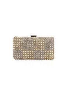 Neiman Marcus Two-Tone Studded Box Clutch Bag