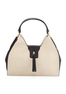 Neiman Marcus Two-Tone Tassel Hobo Bag