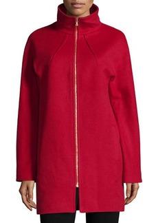 Neiman Marcus Two-Way Zip-Front Wool Jacket