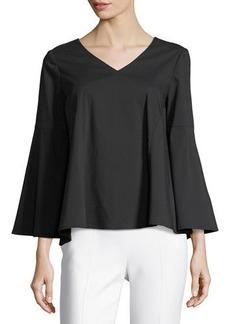Neiman Marcus V-Neck Bell-Sleeve Blouse