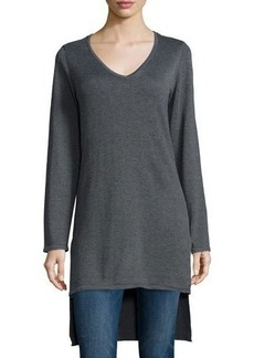 Neiman Marcus V-Neck High-Low Tunic
