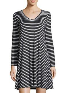Neiman Marcus V-Neck Jersey Striped Dress