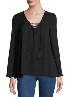 Neiman Marcus V-Neck Lace-Up Relaxed Blouse