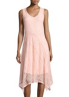 Neiman Marcus V-Neck Ladder-Stitch Lace Dress