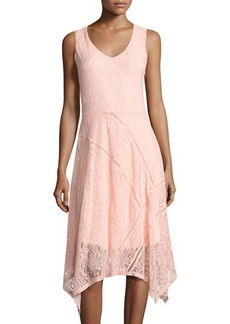 Neiman Marcus V-Neck Ladder-Stitch Lace Dress