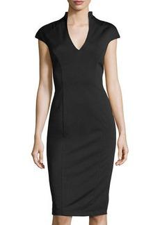 Neiman Marcus V-Neck Midi Cocktail Dress