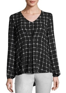 Neiman Marcus V-Neck Pleat-Front Blouse