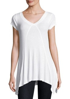Neiman Marcus V-Neck Short-Sleeve Ribbed Tee