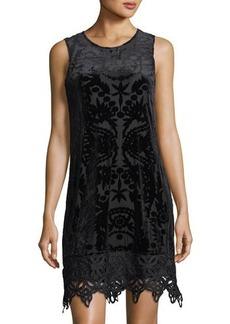 Neiman Marcus Velvet-Burnout Sleeveless Trapeze Dress