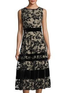 Neiman Marcus Velvet Floral Lace Overlay Sleeveless Dress