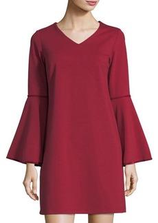 Neiman Marcus Velvet-Trimmed Bell-Sleeve Dress