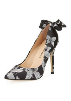 Neiman Marcus Verity Bow Embroidered Pump