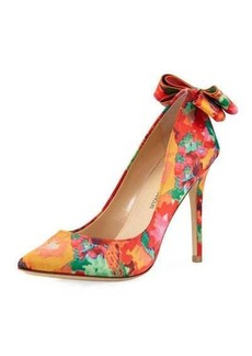 Neiman Marcus Verity Floral Bow Pump