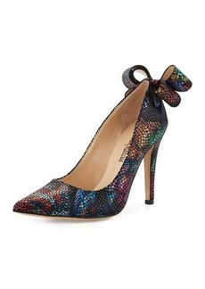 Neiman Marcus Verity Snake-Embossed Leather Pump