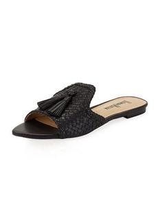 Neiman Marcus Vice Woven Tassel Slide Flat Sandal